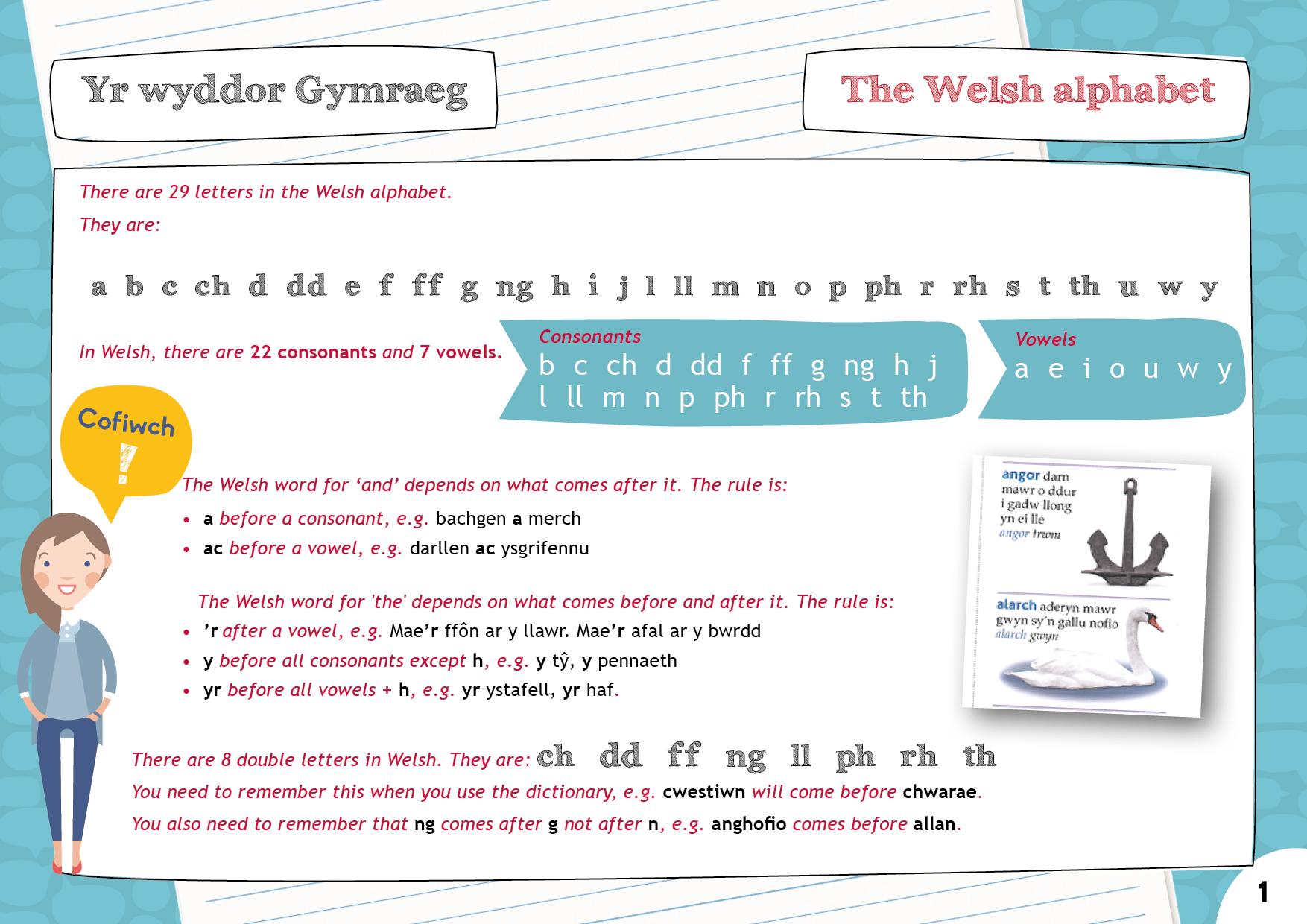 Yr wyddor Gymraeg   The Welsh alphabet