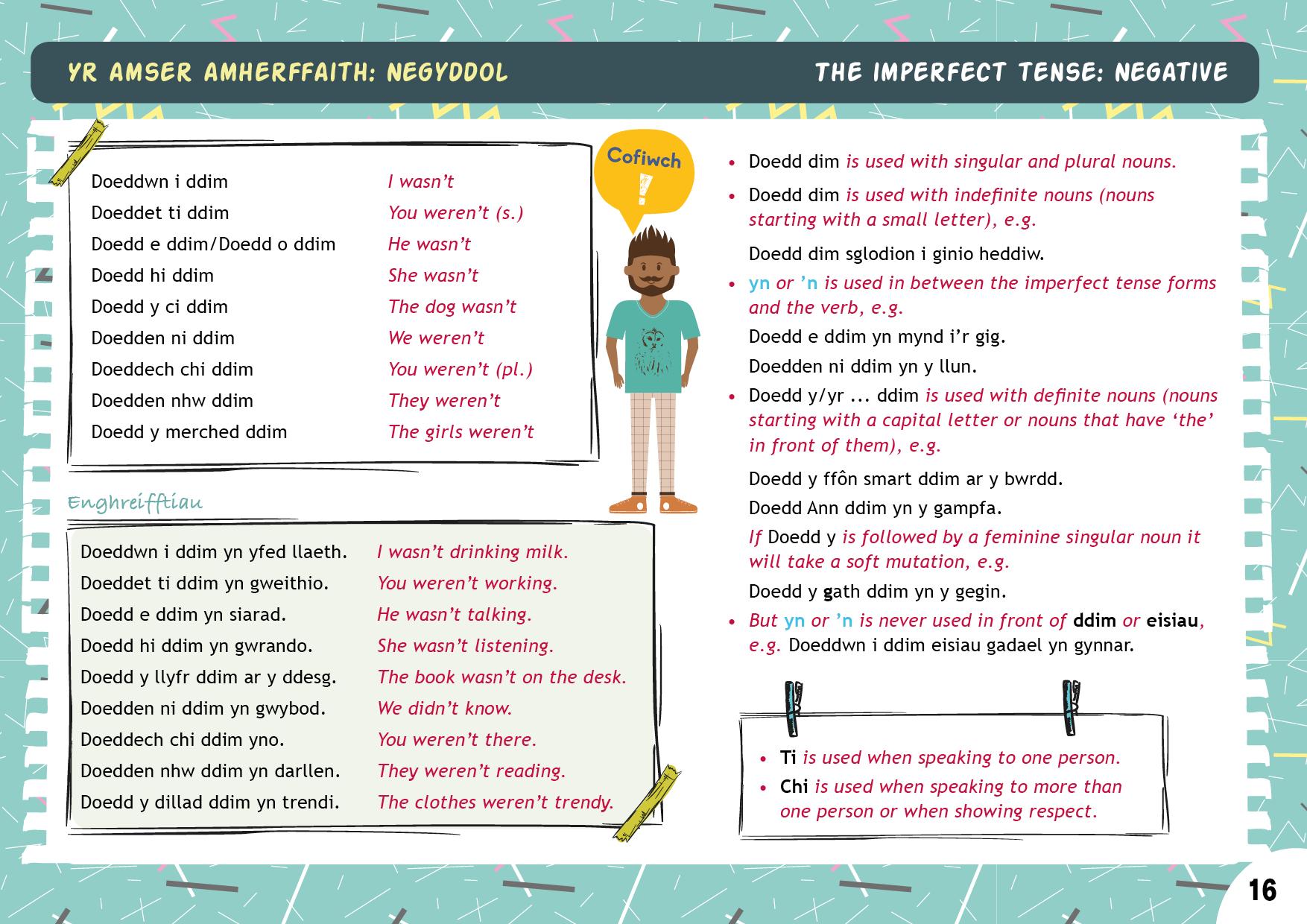 Yr amser amherffaith: negyddol | The imperfect tense: negative
